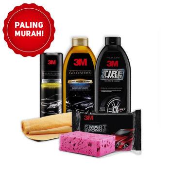 3M Paket Bersih Hemat 3M Sponge3M Premium Car Wipe3M Car Wash Shampoo3M Tire Restorer 1