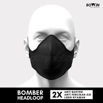 BOWIN Masker Bomber Headloop 4ply Anti PolusiDebuVirusPartikel Black 3