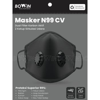 BOWIN Masker Filter N99 CV Washable Solid Black 3