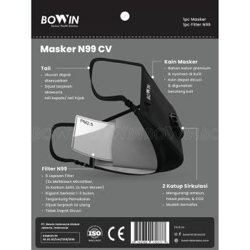 BOWIN Masker Filter N99 CV Washable Solid Black 4